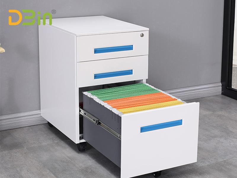 of 3 drawer blue handle pedestal