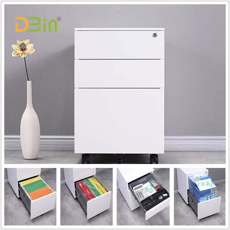 3 drawer white mobile pedestal02